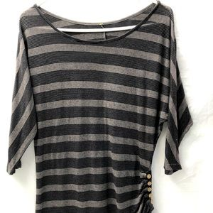 Black Striped Top Slouchy Fit Oversized Ruched